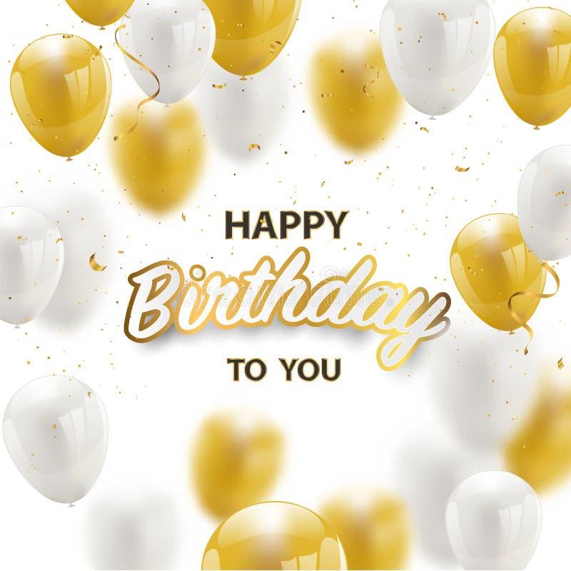 Confettis d'aluminium de bannière de partie de célébration de joyeux anniversaire et ballons d'or d'or de blanc et de scintilleme illustration de vecteur