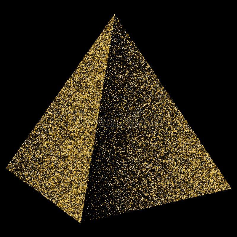 Confettis d'or de triangle de pyramide Illustration d'isolement sur le noir illustration libre de droits