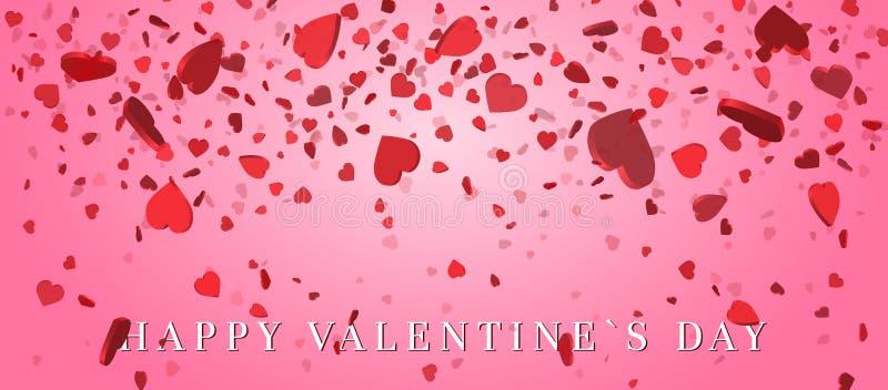 Confettis de coeur des pétales de valentines tombant sur le fond rose Fleurissez le pétale dans la forme des confettis de coeur p illustration de vecteur