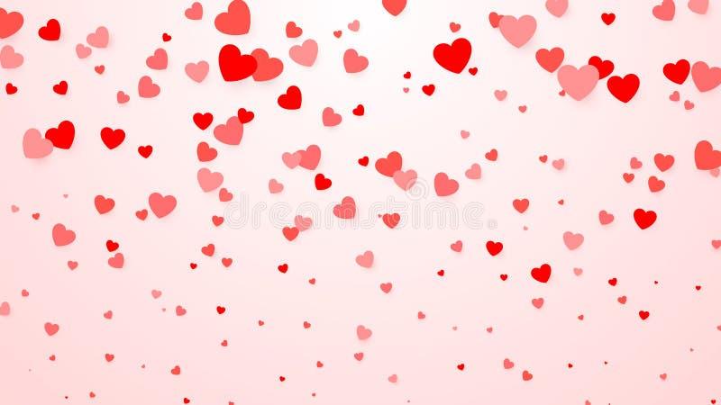Confettis de coeurs Fond de coeur pour l'affiche de conception, épousant l'invitation, jour de mères, jour de valentines, le jour illustration stock