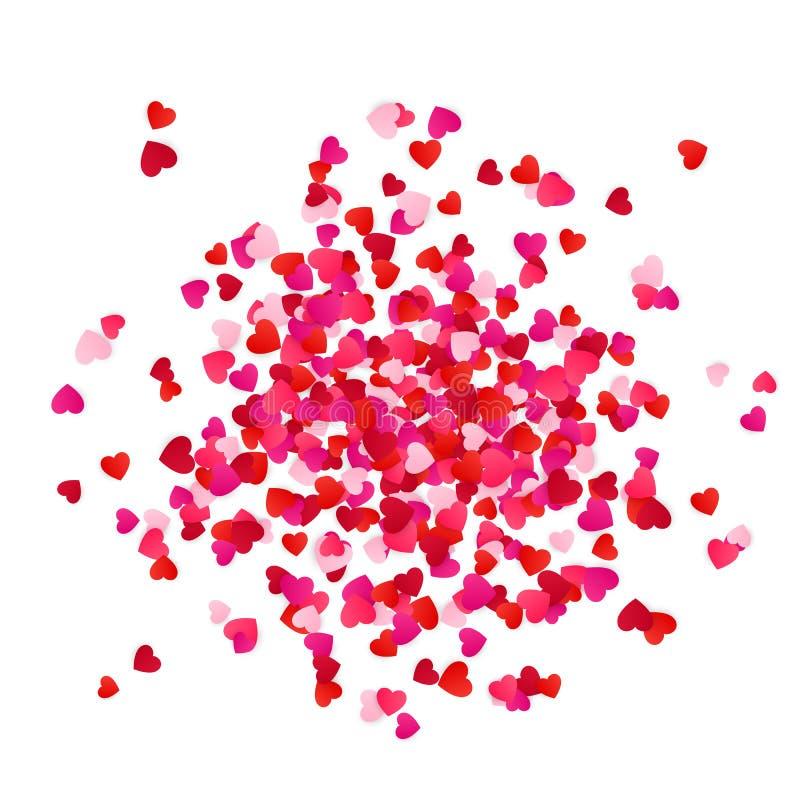 Confettis de papier de coeurs de dispersion rouge et rose d'isolement sur le fond blanc Élément décoratif de vacances Illustratio illustration libre de droits