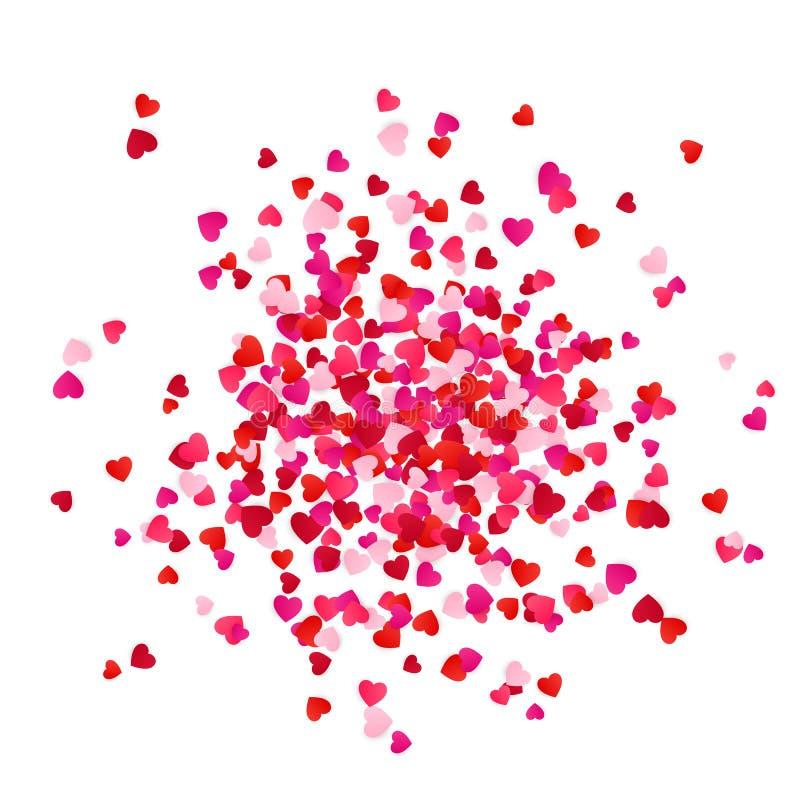 Confettis de papier de coeurs de dispersion rouge et rose d'isolement sur le fond blanc Élément décoratif de vacances romantiques illustration libre de droits