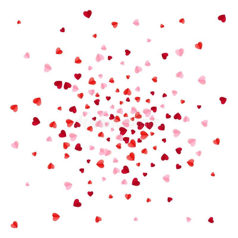 Confettis de papier de coeurs de dispersion rouge et rose Illustration de vecteur d'isolement sur le fond blanc illustration libre de droits