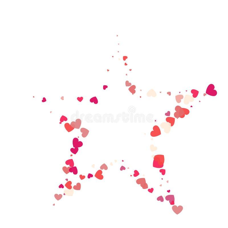 Confettis de rose de vecteur de forme de coeur avec le cadre blanc d'étoile à l'intérieur illustration libre de droits