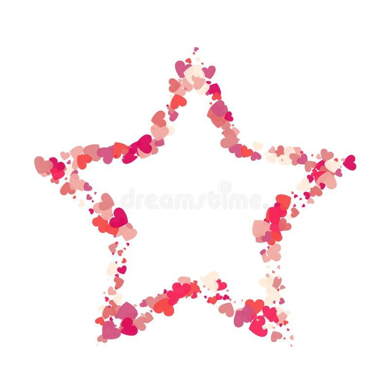 Confettis de rose de vecteur de forme de coeur avec le cadre blanc d'étoile à l'intérieur illustration de vecteur