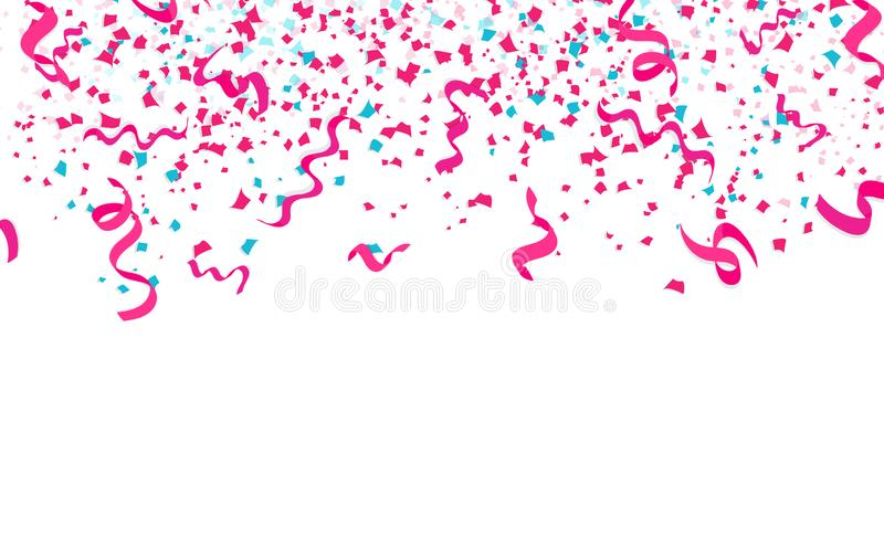 Confettis de rubans, rose en baisse de papier de dispersion et décoration bleue illustration stock
