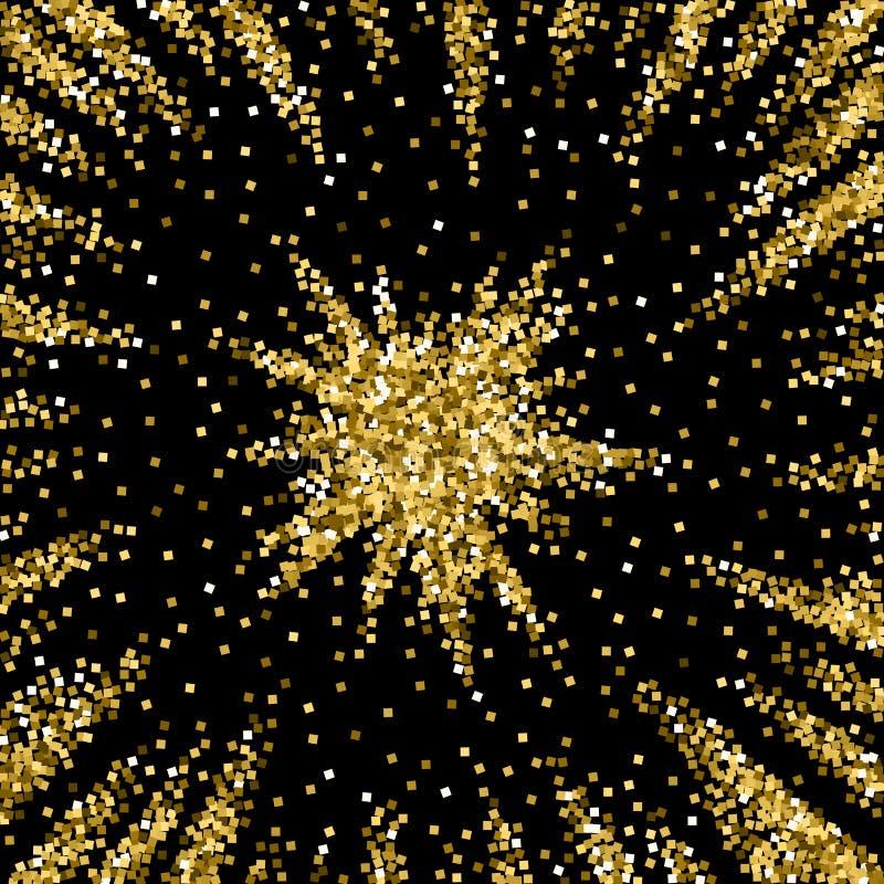 Confettis de scintillement de luxe de scintillement d'or dispers? illustration libre de droits