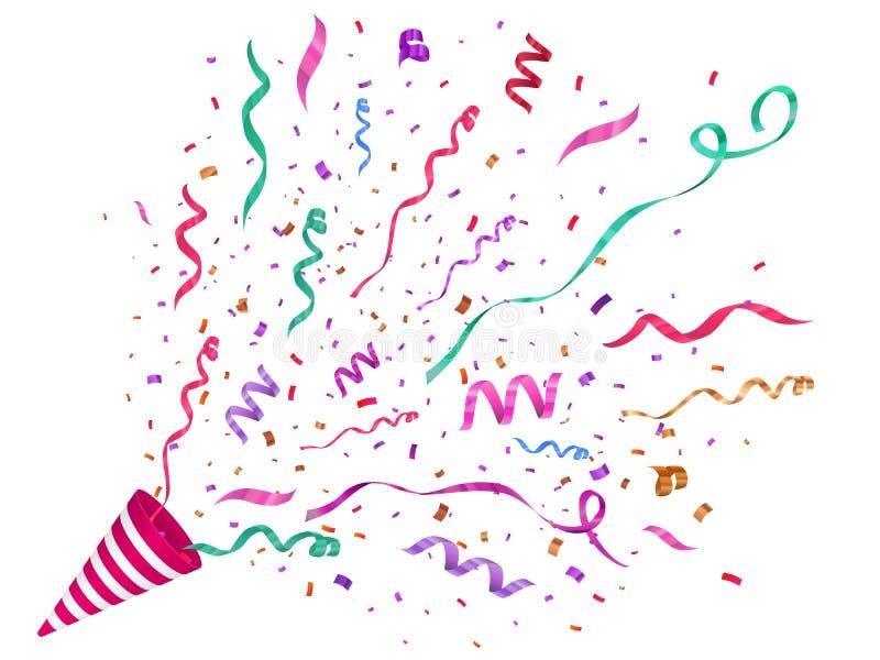 Confettis de vecteur illustration de fête Bouton-pression de partie d'isolement sur le fond blanc illustration stock