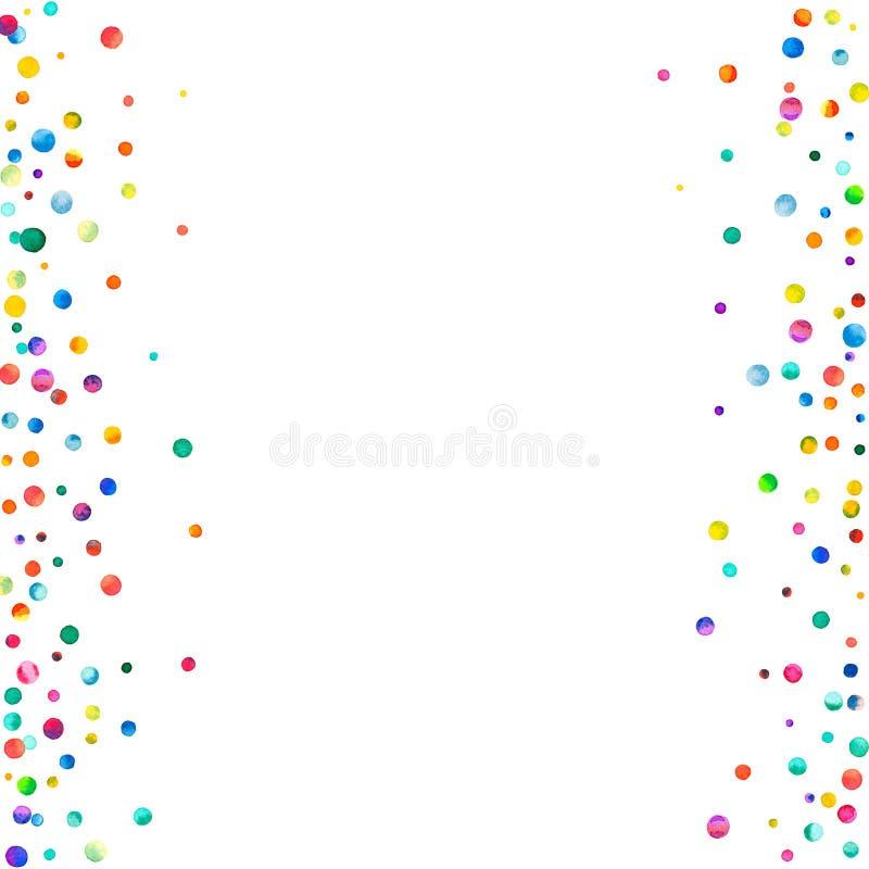 Confettis denses d'aquarelle sur le fond blanc images stock