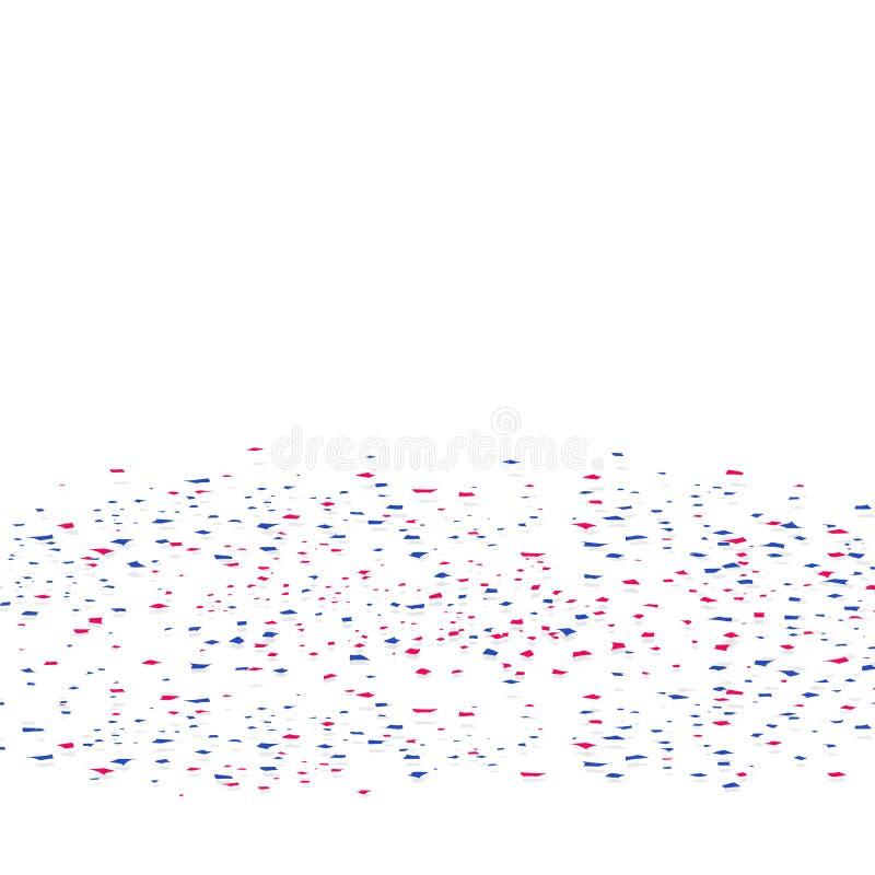 Confettis, dispersion de papier colorée tombant sur le plancher de fête de illustration stock