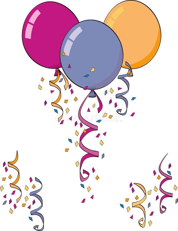 Confettis et ballons illustration de vecteur