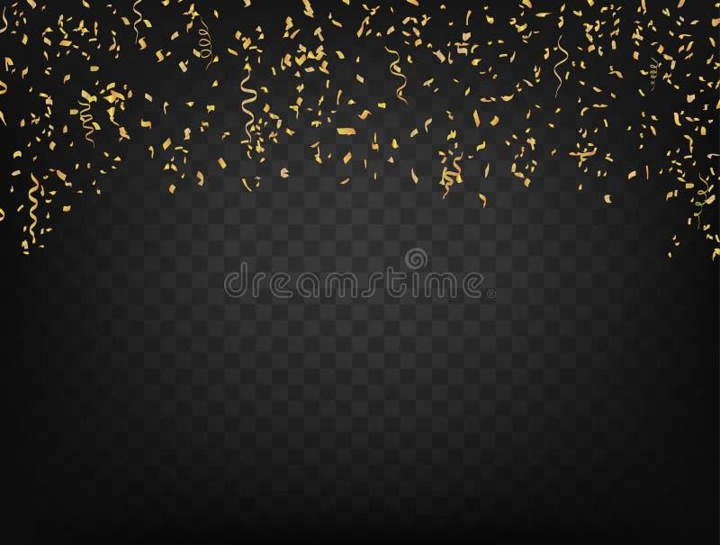 Confettis et rubans sur le fond transparent foncé Vecteur illustration de vecteur