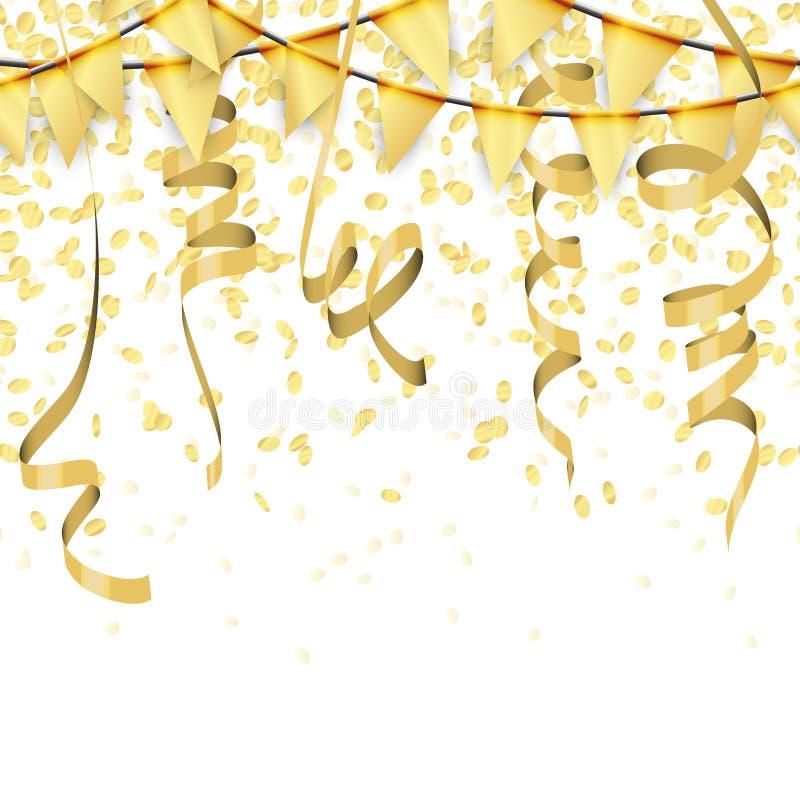 confettis, flammes et fond color?s d'or sans couture de guirlandes illustration libre de droits