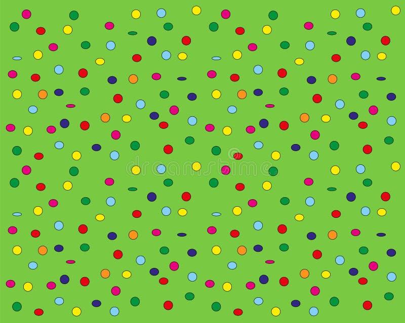 Confettis flottant vers le bas sur le fond vert illustration de vecteur