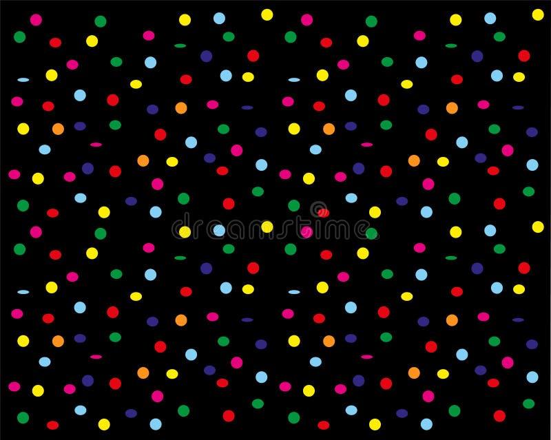 Confettis flottant vers le bas sur un fond noir illustration de vecteur