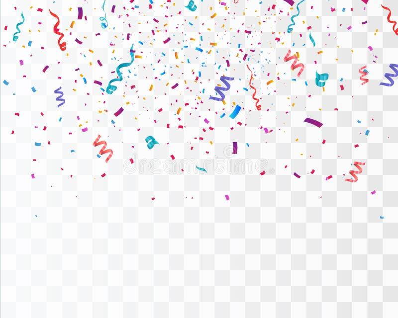 Confettis lumineux colorés d'isolement sur le fond transparent illustration de fête de vecteur illustration libre de droits