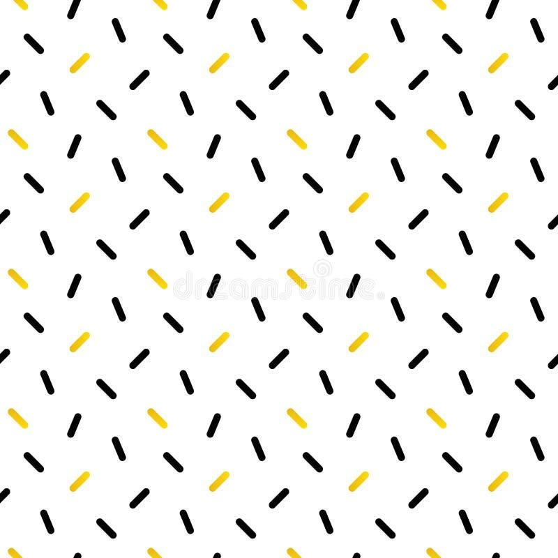 Confettis mignons de noir et d'or, modèle sans couture géométrique illustration de vecteur