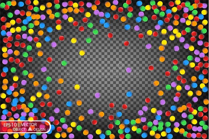Confettis multicolores colorés Dirigez l'illustration de fête des confettis brillants en baisse, d'isolement sur un backg à carre illustration stock