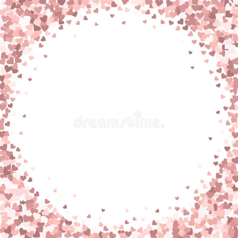 Confettis rosa di amore del cuore Vignett di San Valentino royalty illustrazione gratis