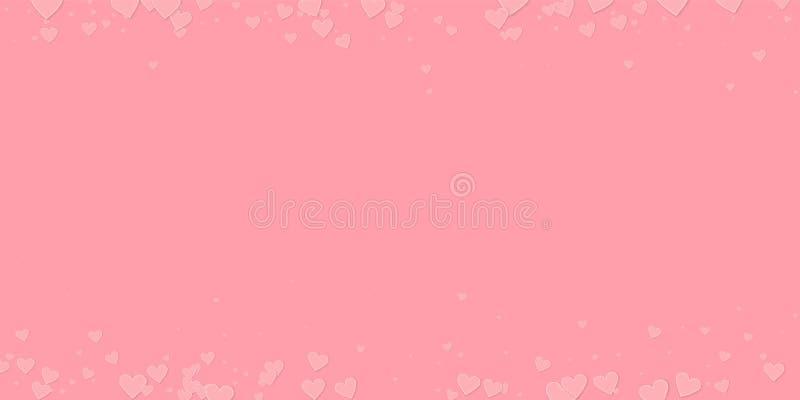 Confettis roses d'amour de coeur Frontière de Saint-Valentin illustration de vecteur