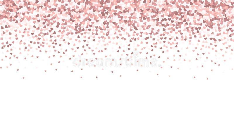 Confettis roses d'amour de coeur La Saint-Valentin gradien illustration libre de droits
