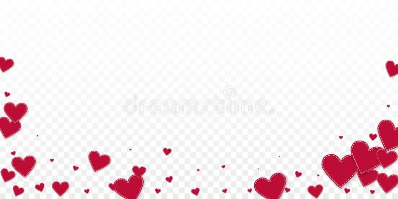 Confettis rouges d'amour de coeur Chute de Saint-Valentin illustration stock
