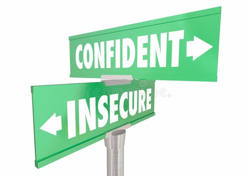 Confiado contra muestras seguras inseguras de la confianza stock de ilustración