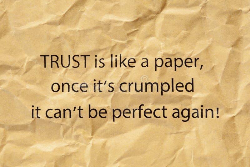 A confiança é como um papel uma vez que seu amarrotado imagens de stock