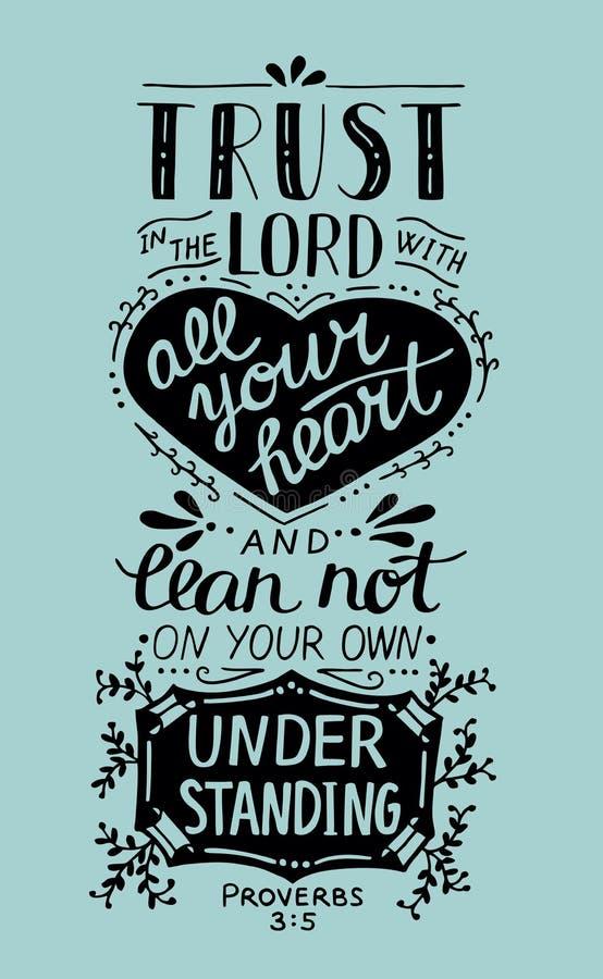 Confiança bíblica da rotulação da mão no senhor com seu coração ilustração royalty free
