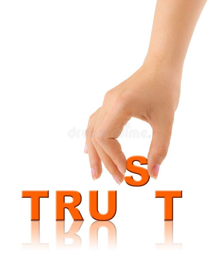 Confiança da mão e da palavra fotos de stock royalty free