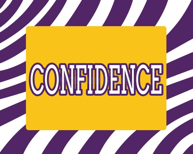 Confiança do texto da escrita da palavra O conceito do negócio para manda a fé dentro confiar em alguém ou em algo que dizem segr ilustração stock
