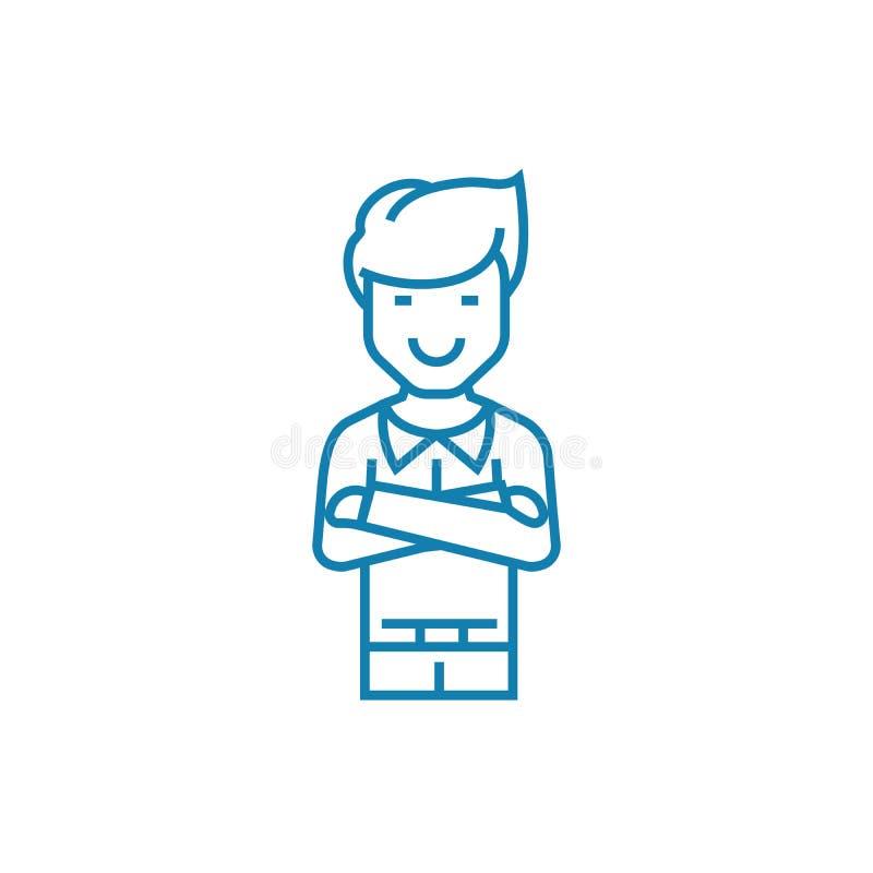 Confiança no conceito linear do ícone do sucesso Confiança na linha sinal do sucesso do vetor, símbolo, ilustração ilustração royalty free