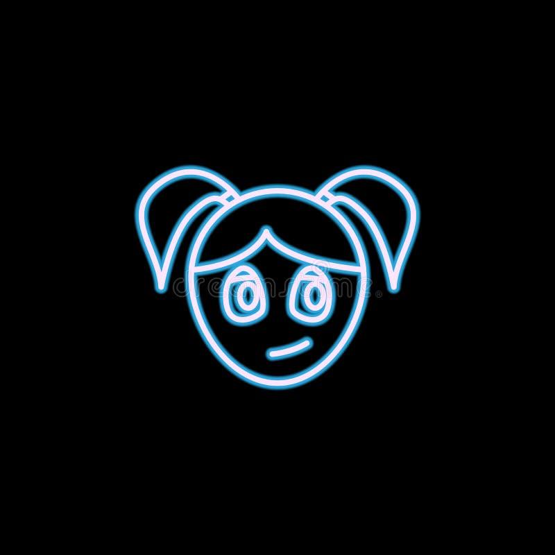 confiance de l'icône de visage de fille dans le style au néon Un de l'icône de collection d'émotions peut être employé pour UI, U illustration de vecteur