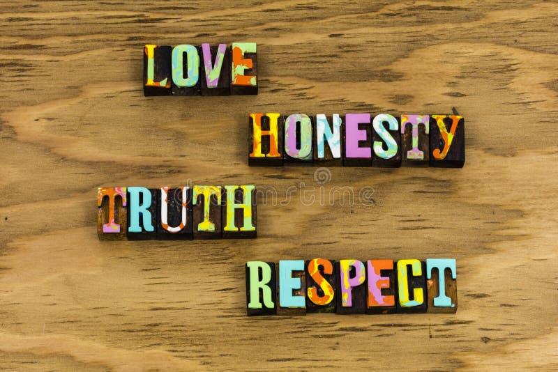 Confiance de respect de vérité d'honnêteté d'amour photos stock