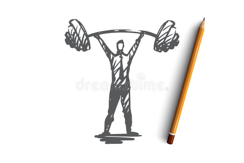 Confiance en soi, succès, patron, force, concept de carrière Vecteur d'isolement tiré par la main illustration de vecteur