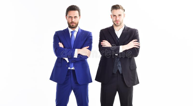 Confiance et support Équipe d'affaires de construction Chefs de file des affaires de département Support formel de costume d'homm images stock