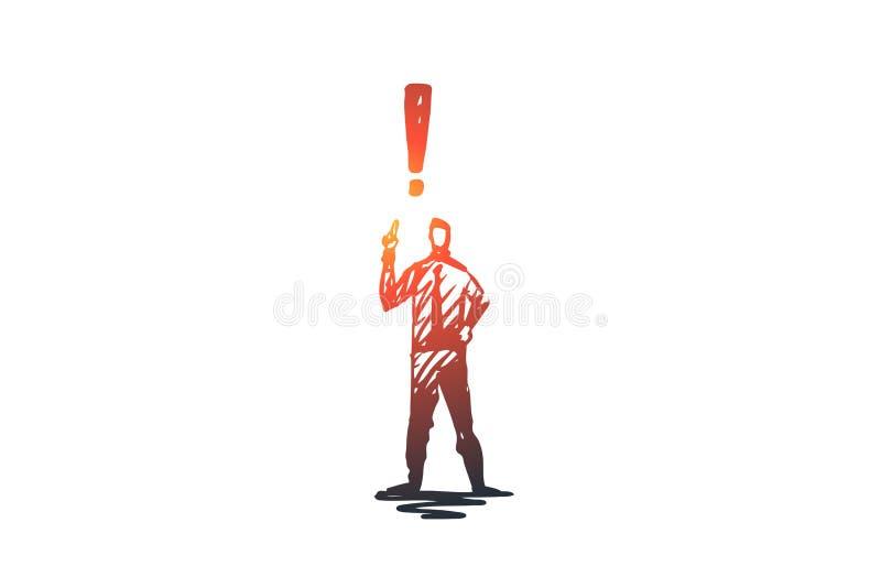 Confiance, succès, homme, direction, concept fort Vecteur d'isolement tiré par la main illustration de vecteur