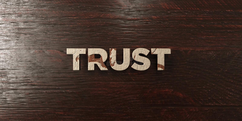 Confiance - titre en bois sale sur l'érable - image courante gratuite de redevance rendue par 3D illustration stock