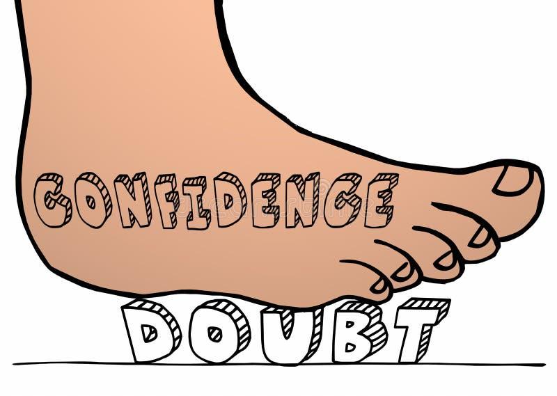 Confianza contra el pie de la duda que machaca palabra el pisar fuerte stock de ilustración