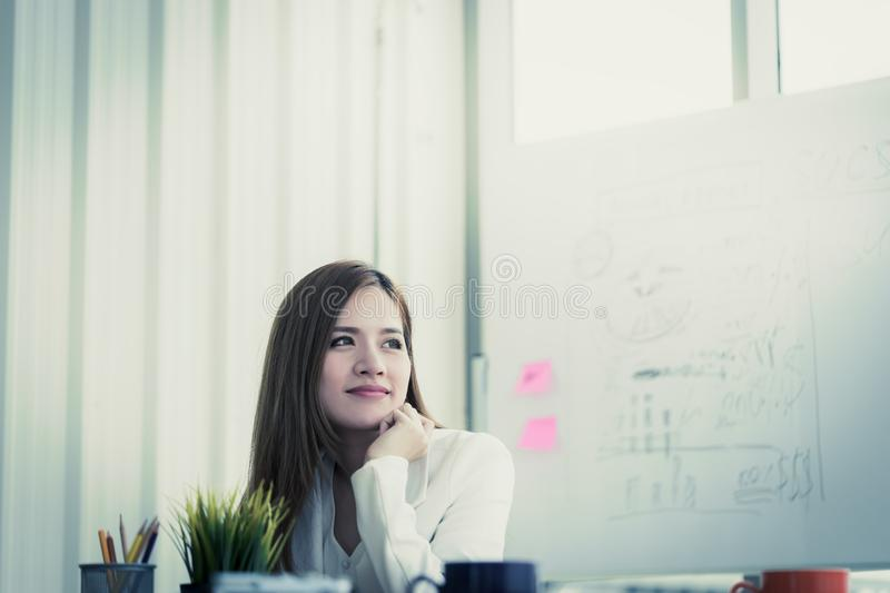 Confidence Business woman in white portrait business office royalty free stock images