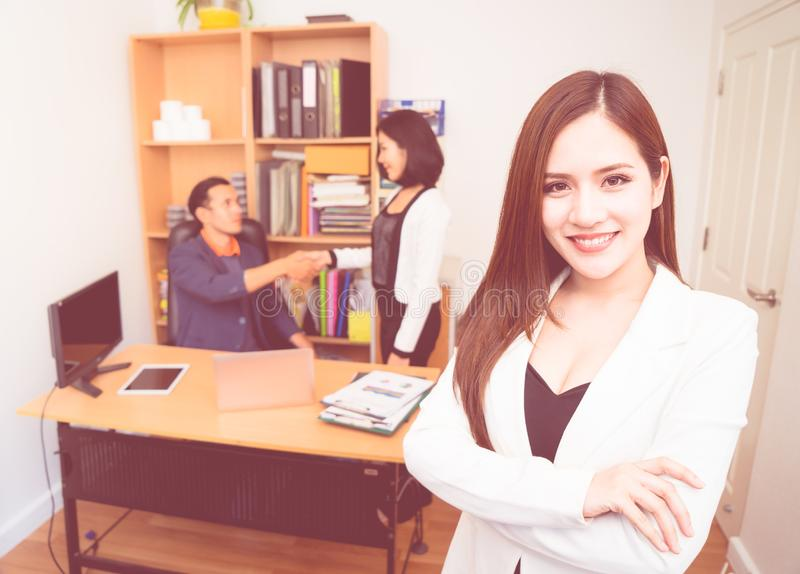 Confidence Business woman in white portrait business offic royalty free stock photos