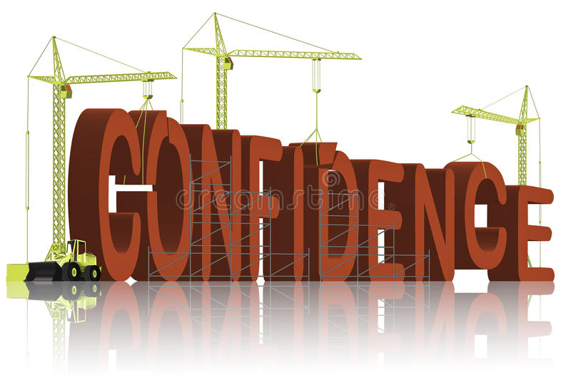 Confidence building be self confident belief. Confidence building belief and trust in yourself be self confident and succeed stock illustration