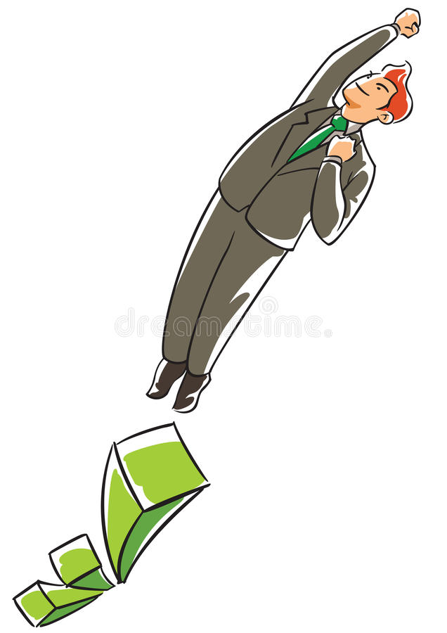 Confidence executive flying from a raising bar chart royalty free illustration