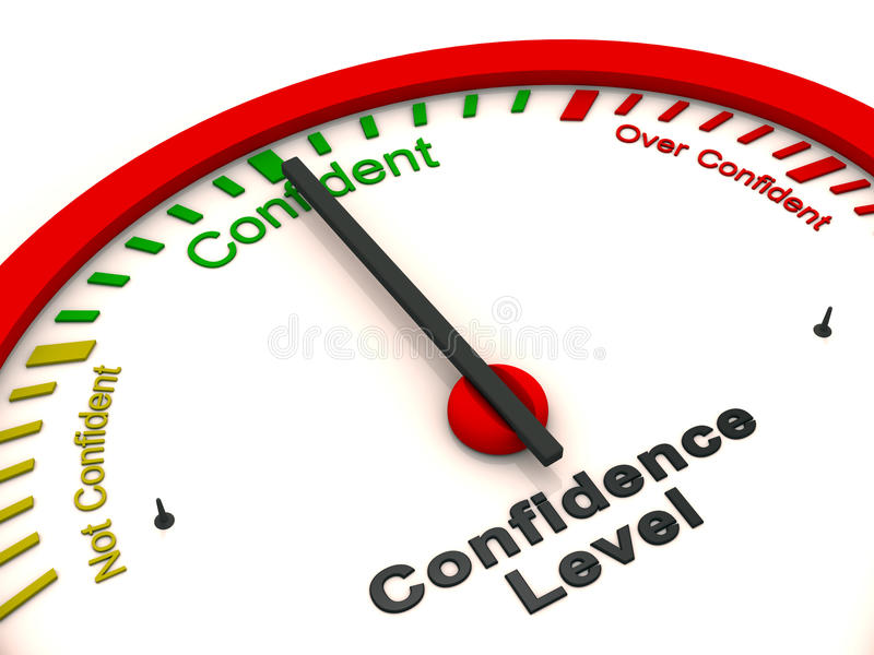 Confidence level meter vector illustration