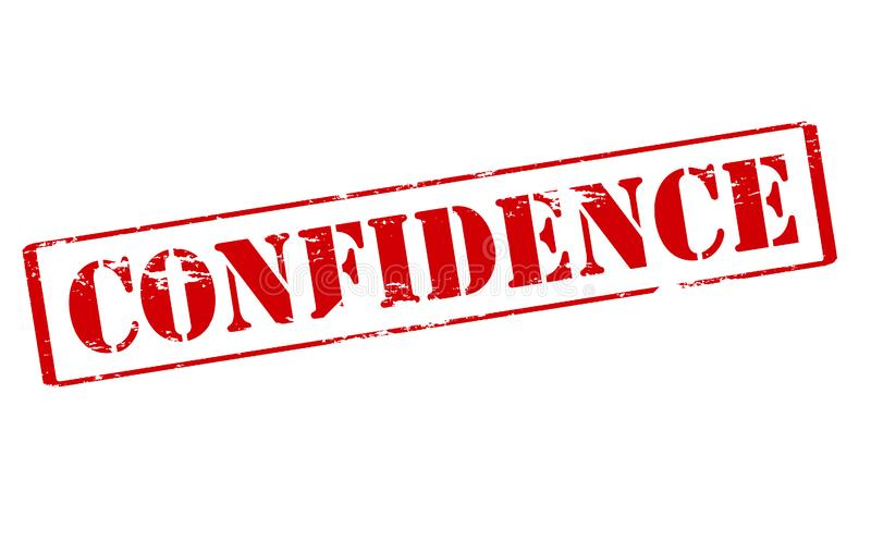Confidence. Rubber stamp with word confidence inside, illustration stock photography