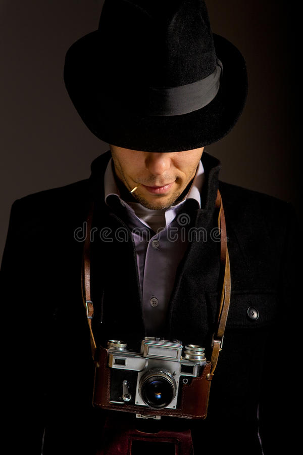 Confidence, young photographer old photocamera stock images