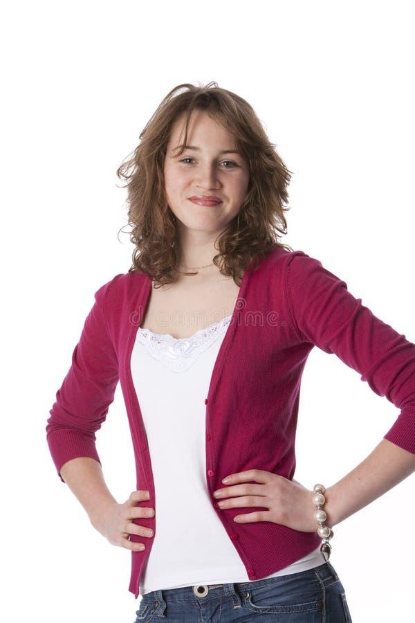 confidenced tonårs- flickasjälv arkivbilder