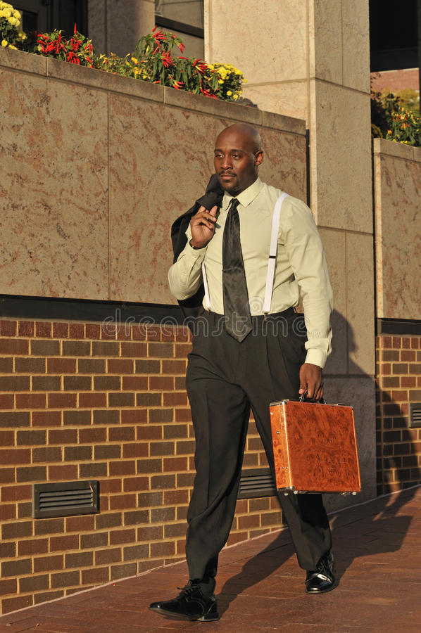 Confident African-American Business Man Walking royalty free stock photos