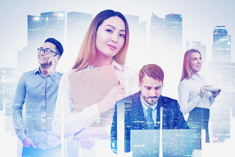 Diverse business team in city royalty free stock image
