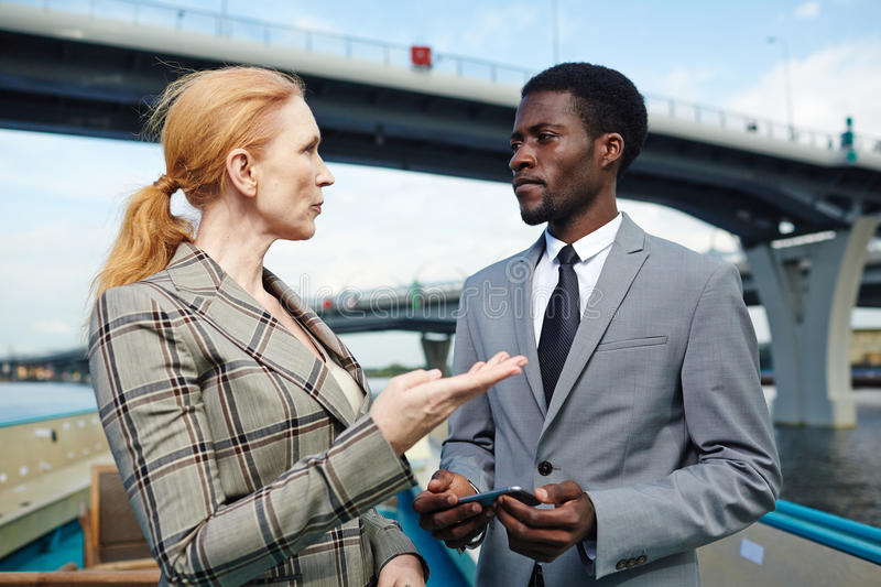 Talk of business partners royalty free stock photography